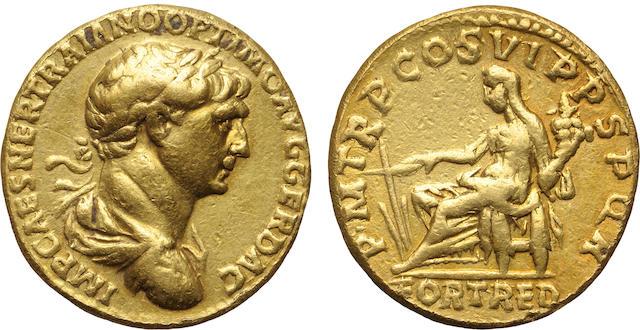Roman Empire, Trajan, AV Aureus, 98-117 A.D., Choice Very Fine, Edge Marks NGC