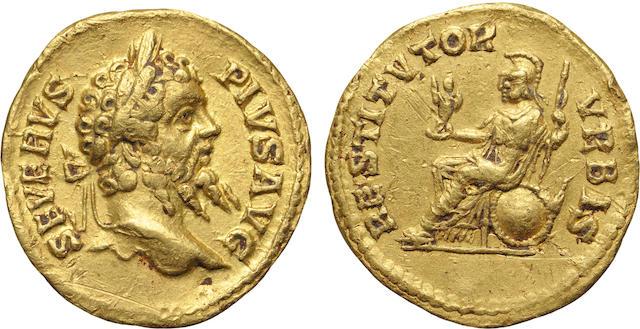 Roman Empire, Septimius Severus, AV Aureus, 193-211 A.D., Extremely Fine NGC