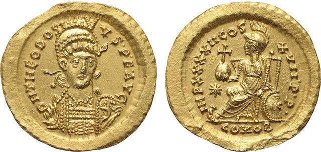 Eastern Roman Empire, Theodosius II, AV Solidus, 402-450 A.D., Mint State NGC