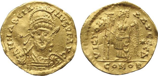 Eastern Roman Empire, Marcian, AV Solidus, 450-457 A.D., Extremely Fine, Graffiti NGC