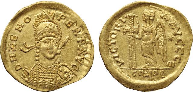 Eastern Roman Empire, Zeno, AV Solidus, 474-491 A.D. Choice AU, Graffiti NGC