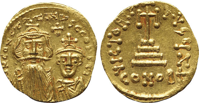 Byzantine Empire, Constantius II & Constantine IV, AV Solidus, 654-659 A.D., Mint State NGC