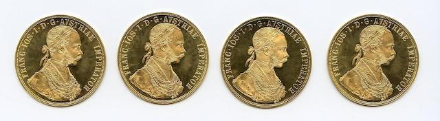 Austria, Franz Joseph I, Gold 4 Ducat Restrikes, 1915 (4)