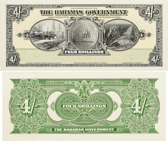 Bahamas Government, 4 Shillings, 1919 Front and Back Proofs
