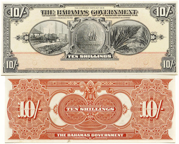 Bahamas Government, 10 Shillings, L.1919 (1930) Front and Back Proofs