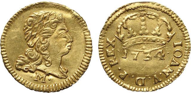Brazil, Joao V (1706-1750), Gold 400 Reis 1734-M