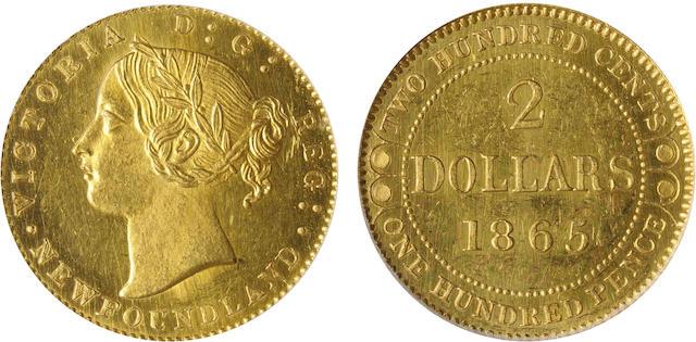 Canada, Newfoundland, 1865 $2 Plain Edge SP62 PCGS