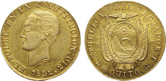 Ecuador, Simon Bolivar, Gold 8 Escudos, 1852/0-GJ AU55 NGC