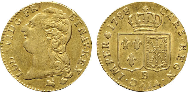 France, Louis XVI, Gold Louis d'or, 1788-B