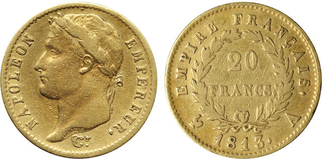 France, Napoleon, First Empire, Gold 20 Francs, 1813-A