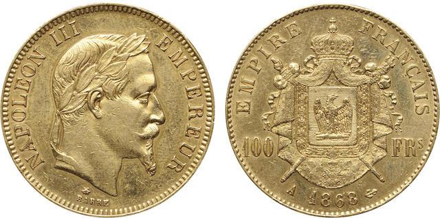 France, Napoleon III, Gold 100 Francs, 1868-A, AU Details, Polished NGC