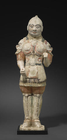 A painted pottery tomb figure of a warrior