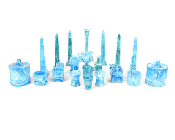 A collection of late Victorian blue and turquoise slagware glass items