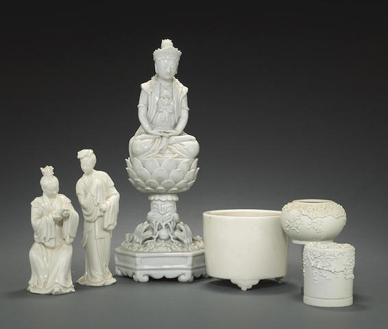 An assembled group of white porcelains