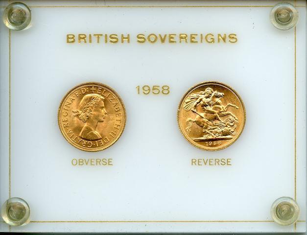 Great Britain, Elizabeth II, Gold Sovereigns 1958 (2)