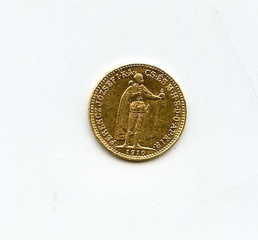 Hungary, Franz Joseph I, Gold 10 Korona, 1910-KB