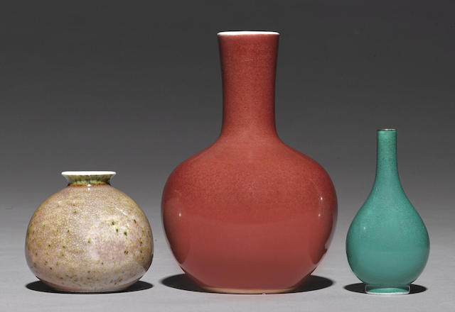 An assembled group of three monochrome wares
