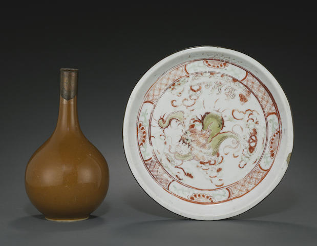 Two metal-mounted porcelain containers