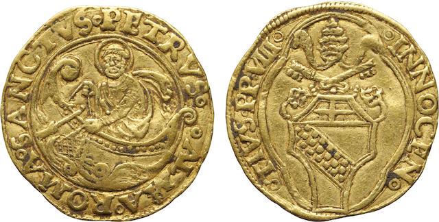 Rome, Papal States, Innocent VIII, Gold Fiorino di'Camera, (1484-1492) XF40 NGC
