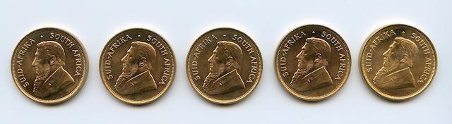 South Africa, Gold Krugerrands, 1975 (5)