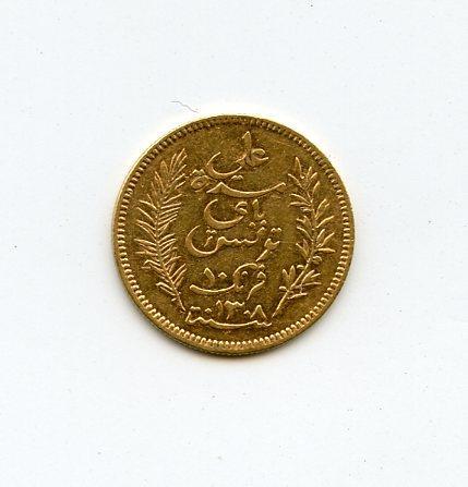Tunisia, Gold 10 Francs, 1891-A (AH1308)