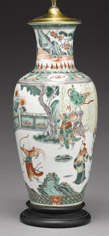 A famille verte enameled baluster vase