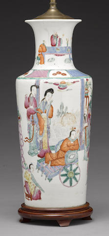 A famille rose enameled rouleau vase