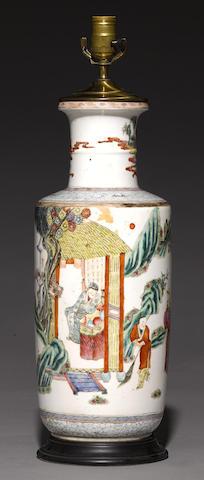 A famille rose enameled baluster vase