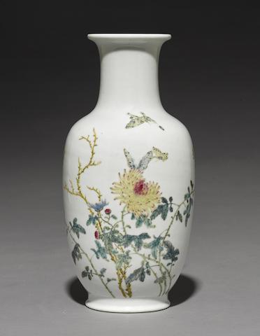 A famille rose enameled vase