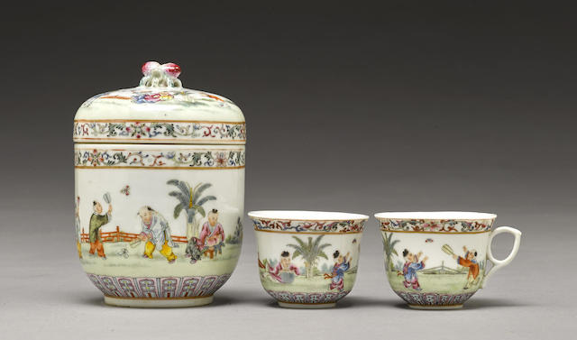 A group of three famille rose enameled wares