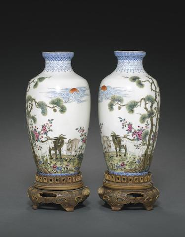 A pair of polycrhome enamel eggshell porcelain vases