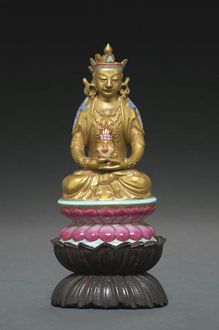 A gilt and famille rose enameled porcelain Amitayus