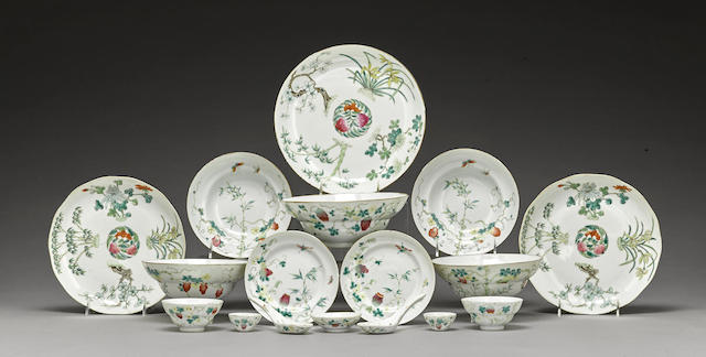 A famille rose enameled partial dinner service