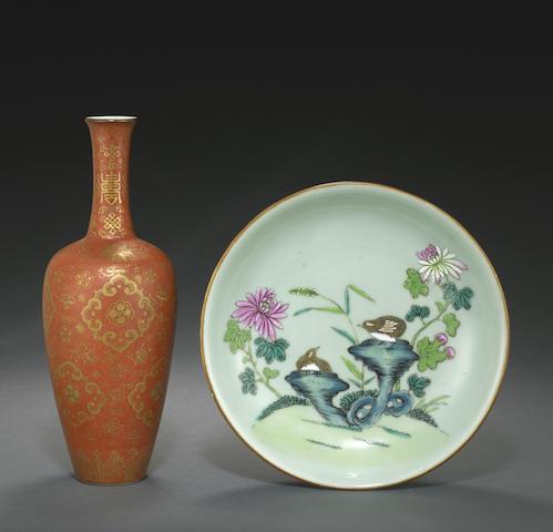 Two enameled porcelain decorations