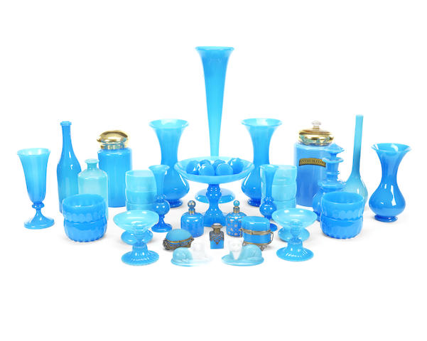 An extensive collection of 19th century and later turquoise and opaline glass items