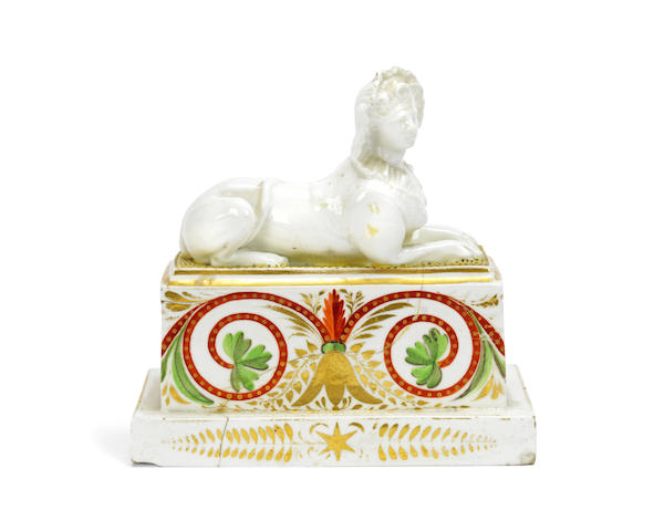 A rare late 18th century Derby porcelain model of a recumbent sphinx