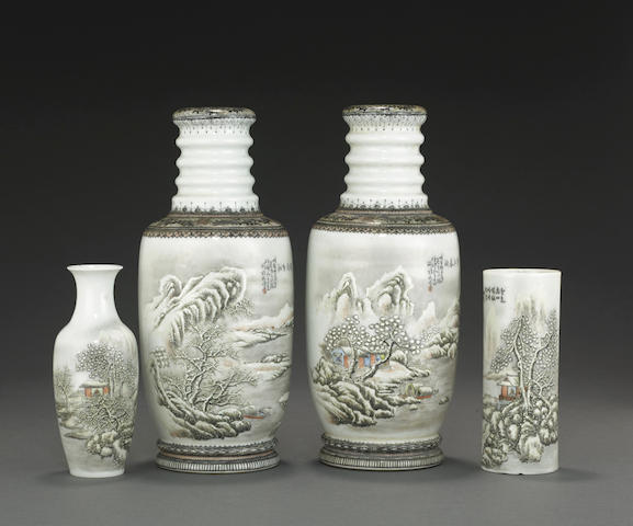 A group of four vases enameled with snow scenes