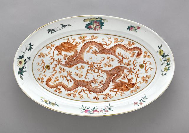 A famille rose enameled ovoid platter