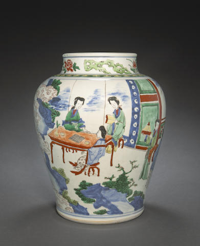 A wucai decorated jar with beauties in a garden