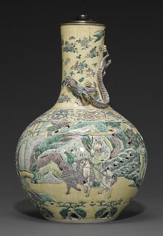A molded famille verte stick neck vase, Tianqiuping