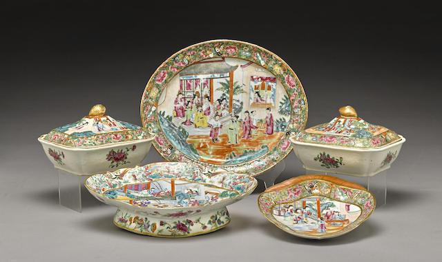 A group of five Canton enameled export porcelain serving pieces