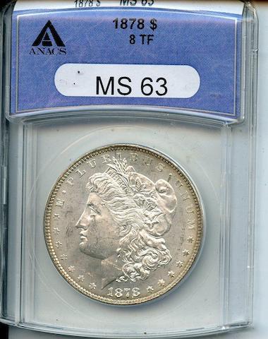 1878 8 Tailfeathers $1 MS63 ANACS