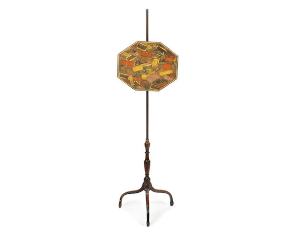 A 19th century decoupage pole screen