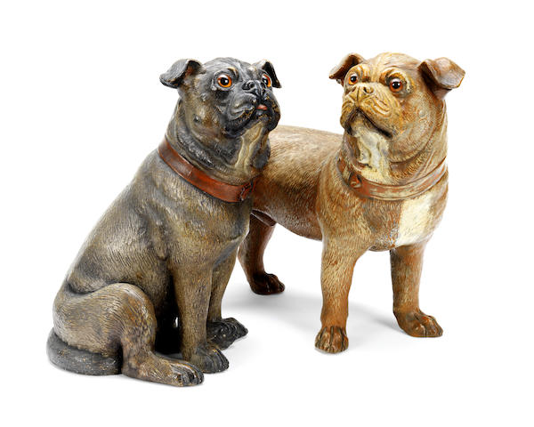 Two early 20th century Austrian terracotta models of pugs