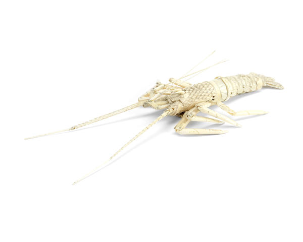 An early 20th century Japanese reticulated bone model of a crayfish