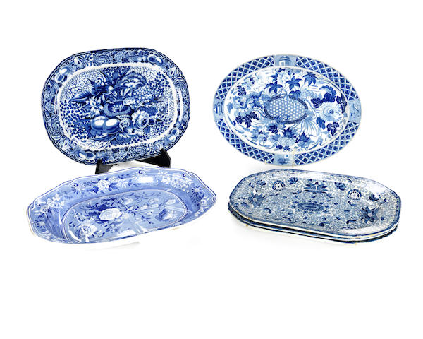 A collection of six 19th century blue printed earthenware meat platters