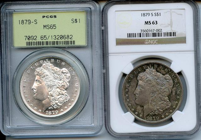 A pair of 1879-S Morgan Dollars