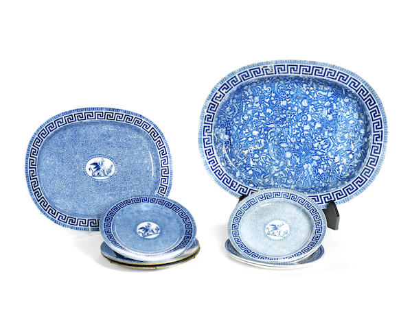 An early 19th century Staffordshire blue printed pearlware meat platter