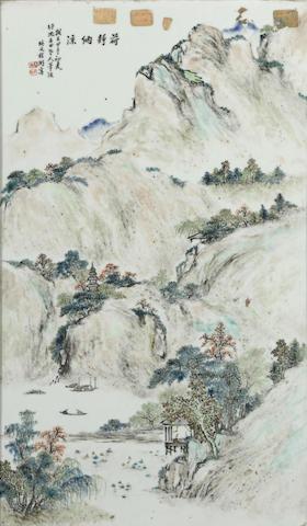 A qianjiangcai enameled plaque
