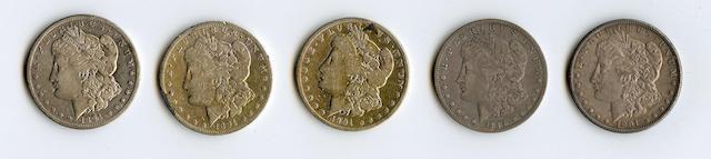 1891-CC (4) and 1895-O $1
